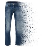 Exploding blue jeans, photographed on ghost mannequin. Exploding blue men`s jeans, photographed on ghost mannequin. on a white background. Left leg is exploding Royalty Free Stock Photos
