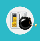 Exploding bomb and bank safe flat design Royalty Free Stock Photo