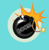 Exploding bomb and boom sign flat icon Stock Image