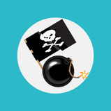 Exploding bomb and pirate flag flat design Stock Photography