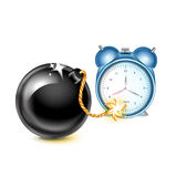 Exploding bomb with timing clock. On white Royalty Free Stock Photography