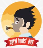 Exploding Cigar Button for April Fools' Day, Vector Illustration. Already exploded cigarette in man face pranked with ribbon and April Fools' Day text Stock Images