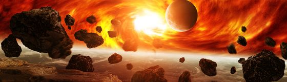 Exploding close to planet Earth 3D rendering elements of this im. Exploding sun in space close to planet Earth 3D rendering elements of this image furnished by Stock Images