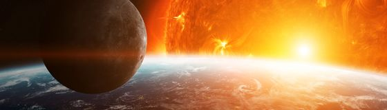 Exploding close to planet Earth 3D rendering elements of this im. Exploding sun in space close to planet Earth 3D rendering elements of this image furnished by Royalty Free Stock Image