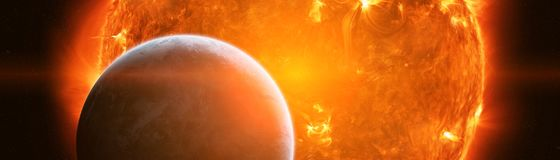 Exploding close to planet Earth 3D rendering elements of this im. Exploding sun in space close to planet Earth 3D rendering elements of this image furnished by Stock Photo
