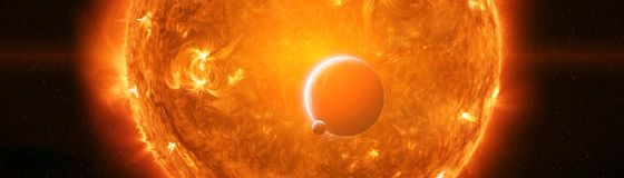 Exploding close to planet Earth 3D rendering elements of this im. Exploding sun in space close to planet Earth 3D rendering elements of this image furnished by Royalty Free Stock Photography
