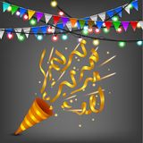 Exploding Colorful confetti popper birthday party Royalty Free Stock Images