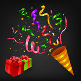 Exploding Colorful confetti popper with gift box birthday party Stock Image