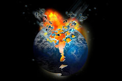 Exploding death planet Earth. Firey exploding planet set on fire in space Royalty Free Stock Images