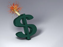 Exploding Dollar. It's a Dollar sign that will explode, a picture of the market financial risk vector illustration