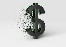 Exploding Dollar Sign Royalty Free Stock Photography