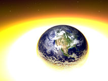 Exploding Earth. 3d render - end of the world Stock Photos