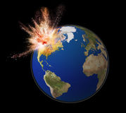 Exploding earth isolated on black back ground Royalty Free Stock Photos