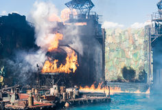 Exploding. This is a exploding of film scenes of WaterWorld Stock Photo