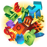 Exploding Financial Market. Set of exploding 3D financial icons Stock Photography