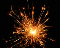 Exploding firework. Closeup of firework exploding at night stock photography