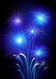 Exploding fireworks. Illustration of neon colored fireworks exploding in night sky Royalty Free Stock Photos