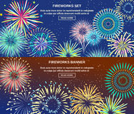 Exploding Of Fireworks Horizontal Banners Stock Photos