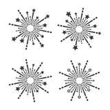 Exploding Fireworks Icons Set on White Background. Vector stock illustration