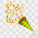 Exploding Golden Confetti Popper on transparency background Royalty Free Stock Images