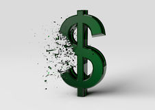 Exploding Green Dollar Sign. On a white background royalty free illustration