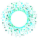 Exploding green water drops circular frame Royalty Free Stock Photos