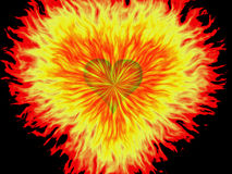 Exploding heart. Illustration of heart sign with explosion effect Stock Image
