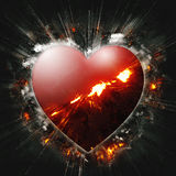 Exploding heart Stock Photography