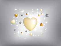 Exploding Hearts Gold And Silver Stock Photos