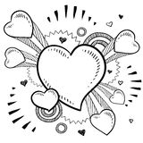 Exploding hearts for Valentine's day. Doodle style Valentine's Day romantic heart with exploding pop background in vector format Royalty Free Stock Photos