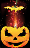 Exploding Jack-o-Lantern. Exploding a pumpkin head with sparks and firework. Abstract Halloween illustration Stock Images
