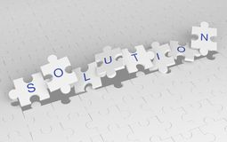 Exploding jigsaw puzzle pieces with solution word. White pattern. Background, 3d illustration Royalty Free Stock Photos