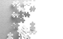 Exploding jigsaw puzzle on white background. Breaking the wall. 3d illustration Stock Photo