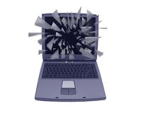 Exploding laptop monitor Royalty Free Stock Photo
