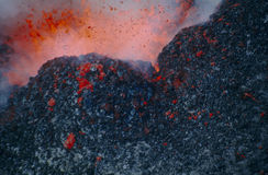 Exploding lava. From mount Kilaua stock photography