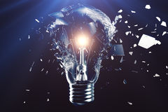 Exploding light bulb on a blue background, with concept creative thinking and innovative solutions. 3D rendering. Exploding light bulb on a blue background, with Royalty Free Stock Images
