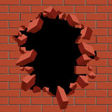 Exploding out hole in red brick wall vector illustration. Construction surface brickwall and broken hole in structure brick wall vector illustration