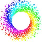 Circular rainbow round frame border. Exploding paint spots in a circular rainbow shape round border frame royalty free illustration