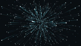 Exploding particles blue and black. 3D rendering. 3d rendering of light and bright sparkling particles. Glittering blue sparkles explode on a black background Stock Image
