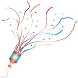 Exploding party popper. Vector illustration of an exploding party popper Royalty Free Stock Photography