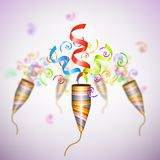 Exploding Party Popper On Blurred Background. Stock Image