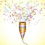 Exploding Party Popper With Confetti. Royalty Free Stock Photos