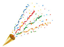 Exploding party popper with confetti and streamer. Party cracker with a colorful confetti and streamer on white background. Vector EPS 10 format Royalty Free Stock Photos