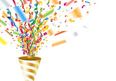 Exploding party popper with confetti and streamer Royalty Free Stock Photo