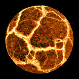 Exploding planet. Fiery explosion of a computer generated planet or moon Royalty Free Stock Photo