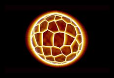 Exploding planet. With bright reddish yellow lights Stock Photo