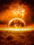 Exploding planet. Abstract apocalyptic background - burning and exploding planet Earth in red sky, hell, end of world. Elements of this image furnished by NASA royalty free stock image