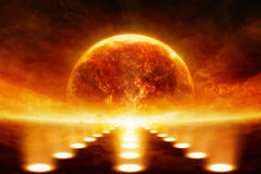Exploding planet. Dramatic apocalyptic background - burning and exploding planet Earth, bright spotlights. Elements of this image furnished by NASA stock photo