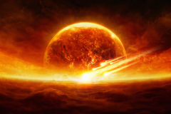 Exploding planet. Dramatic apocalyptic background - burning and exploding planet Earth, hell, asteroid impact, glowing horizon. Elements of this image furnished stock photo
