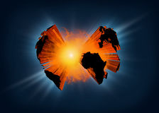 Exploding Planet Earth. Illustration of planet earth exploding in a  ball of fire Royalty Free Stock Images